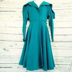Vintage 80's Norma Kamali Teal Fleece Wrap Dress